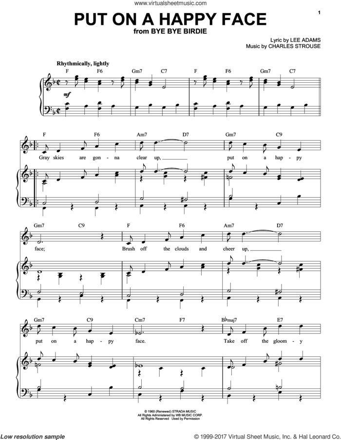 Put On A Happy Face sheet music for voice and piano (High Voice) by Charles Strouse and Lee Adams, intermediate skill level