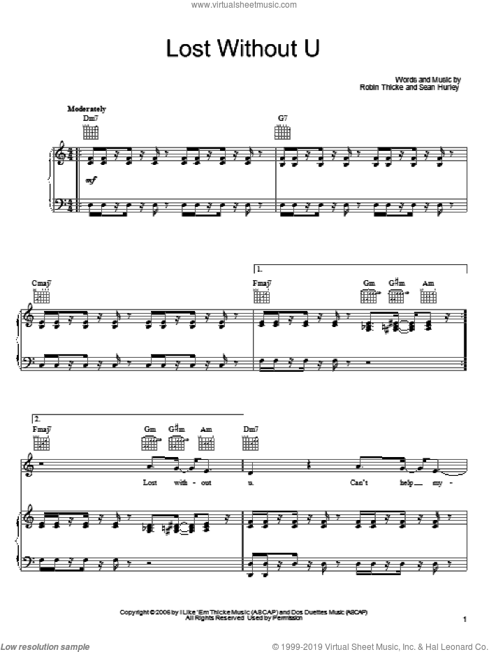 Lost Without U sheet music for voice, piano or guitar by Robin Thicke and Sean Hurley, intermediate skill level