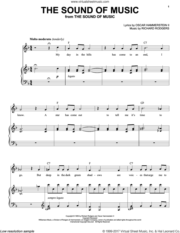 The Sound Of Music sheet music for voice and piano (High Voice) by Rodgers & Hammerstein, Oscar II Hammerstein and Richard Rodgers, intermediate skill level