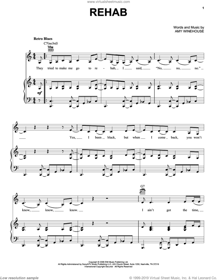 Rehab sheet music for voice, piano or guitar by Amy Winehouse and Miscellaneous, intermediate skill level