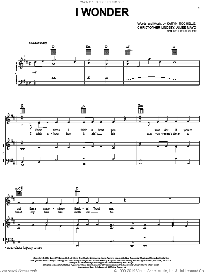 I Wonder sheet music for voice, piano or guitar by Kellie Pickler, Aimee Mayo, Christopher Lindsey and Karyn Rochelle, intermediate skill level