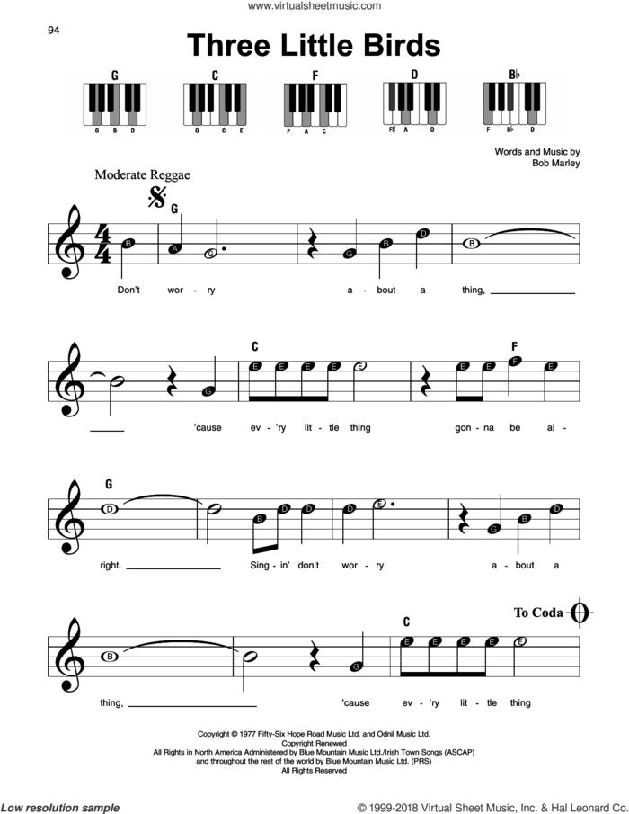 Three Little Birds, (beginner) sheet music for piano solo by Bob Marley, beginner skill level