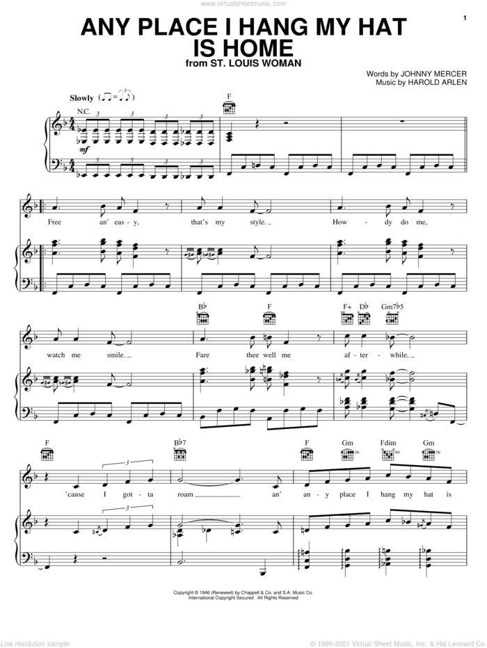 Any Place I Hang My Hat Is Home sheet music for voice, piano or guitar by Johnny Mercer, Lena Horne and Harold Arlen, intermediate skill level