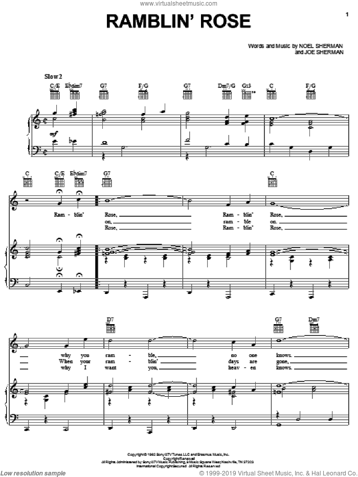 Ramblin' Rose sheet music for voice, piano or guitar by Nat King Cole, Joe Sherman and Noel Sherman, intermediate skill level