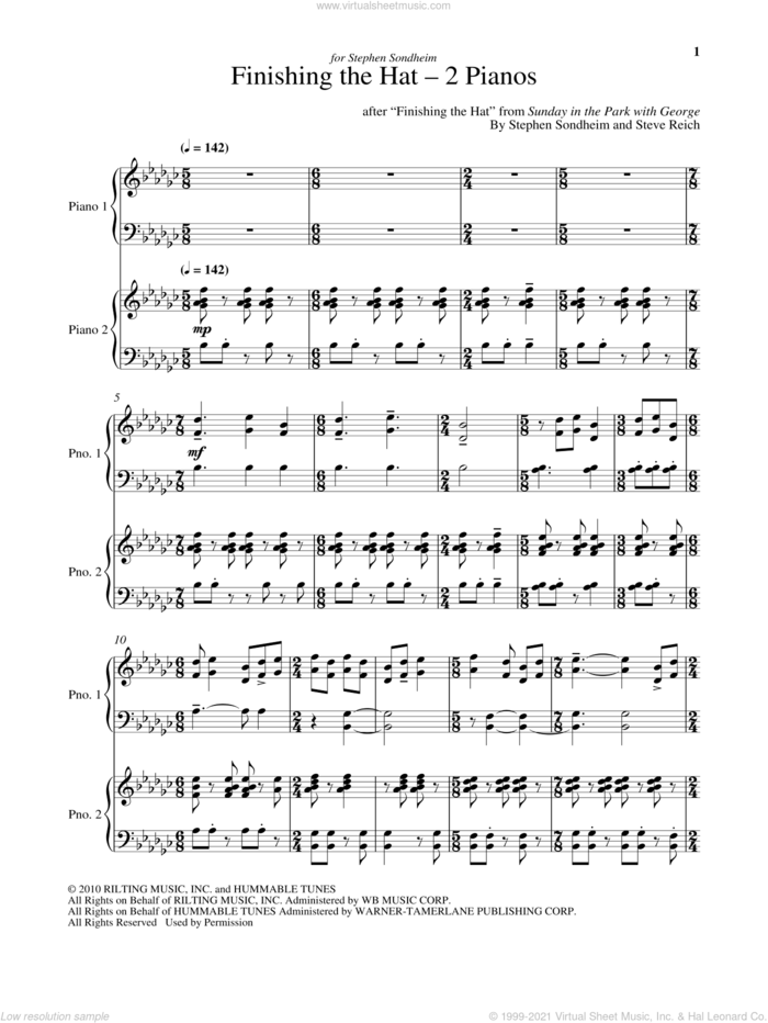 Finishing The Hat - Two Pianos sheet music for piano four hands by Stephen Sondheim and Steve Reich, intermediate skill level