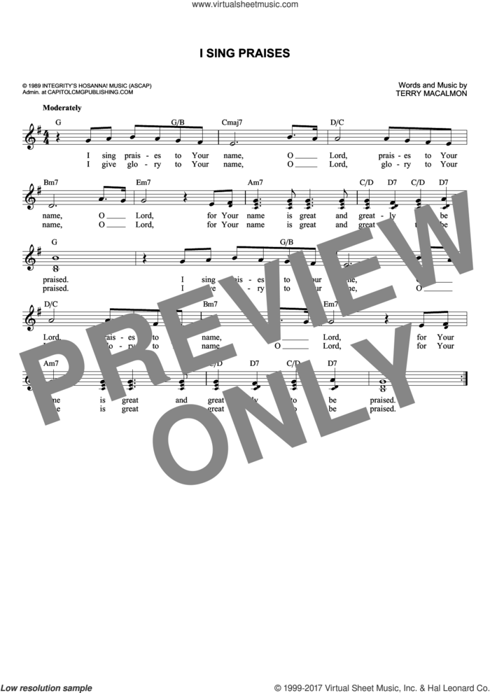 I Sing Praises sheet music for voice and other instruments (fake book) by Terry MacAlmon, intermediate skill level