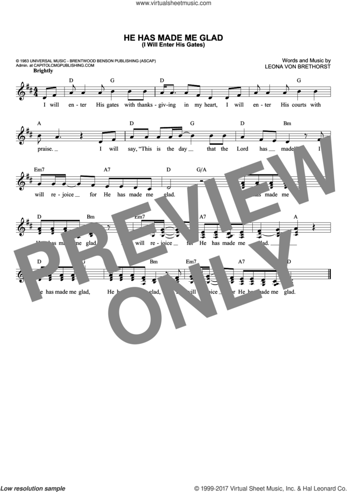 He Has Made Me Glad (I Will Enter His Gates) sheet music for voice and other instruments (fake book) by Leona Von Brethorst, intermediate skill level