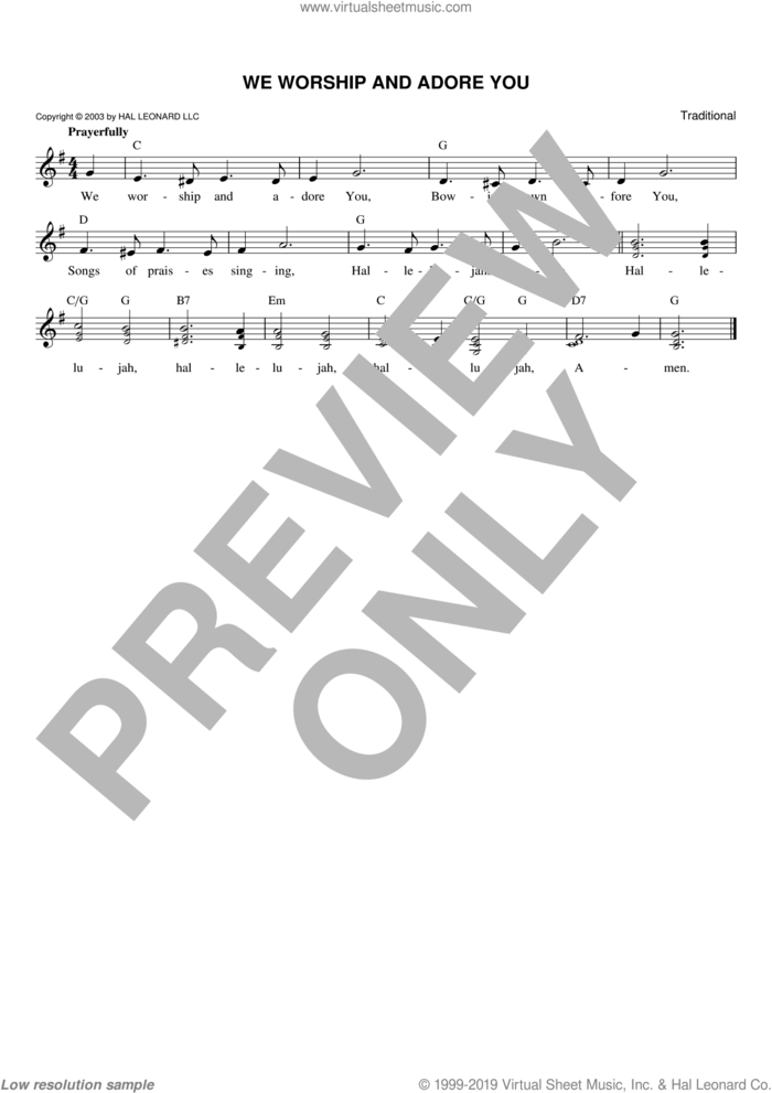 We Worship And Adore You sheet music for voice and other instruments (fake book), intermediate skill level