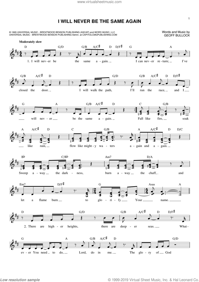 I Will Never Be The Same Again sheet music for voice and other instruments (fake book) by Geoff Bullock, intermediate skill level