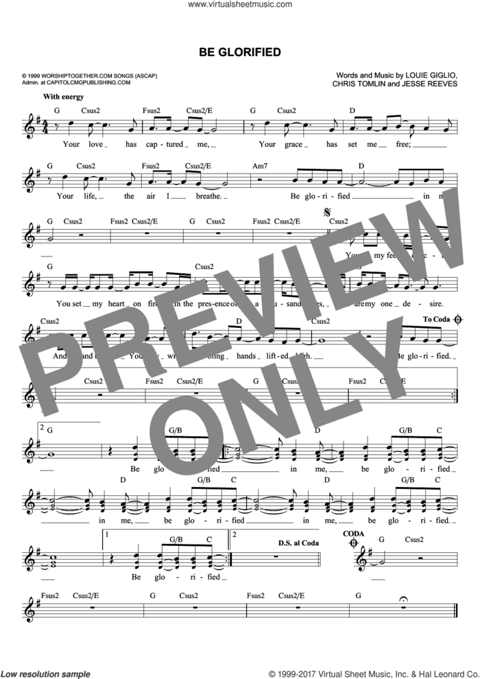Be Glorified sheet music for voice and other instruments (fake book) by Chris Tomlin, Passion, Tim Hughes, Jesse Reeves and Louie Giglio, intermediate skill level