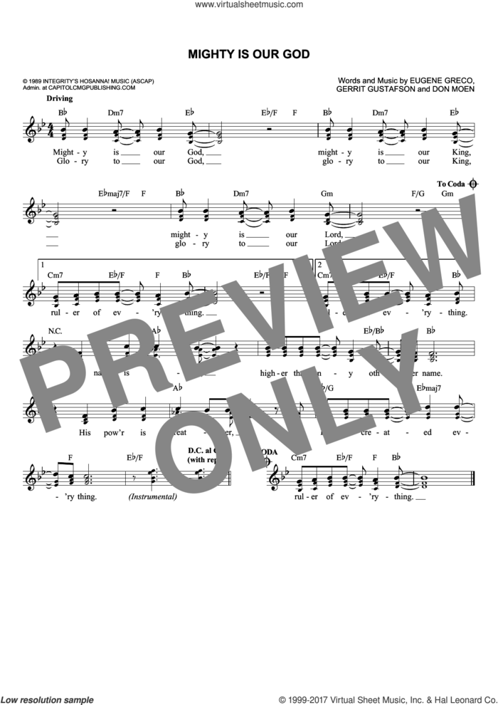 Mighty Is Our God sheet music for voice and other instruments (fake book) by Gerrit Gustafson, Don Moen and Eugene Greco, intermediate skill level