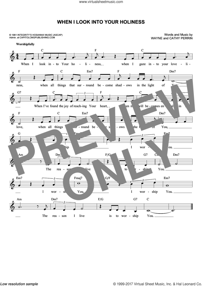 When I Look Into Your Holiness sheet music for voice and other instruments (fake book) by Wayne Perrin and Cathy Perrin, intermediate skill level