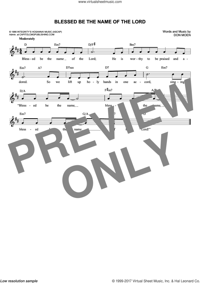 Blessed Be The Name Of The Lord sheet music for voice and other instruments (fake book) by Don Moen, intermediate skill level