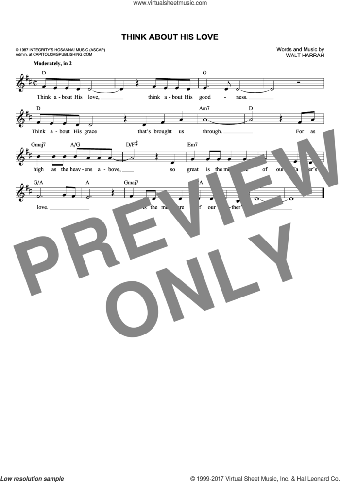 Think About His Love sheet music for voice and other instruments (fake book) by Walt Harrah, intermediate skill level