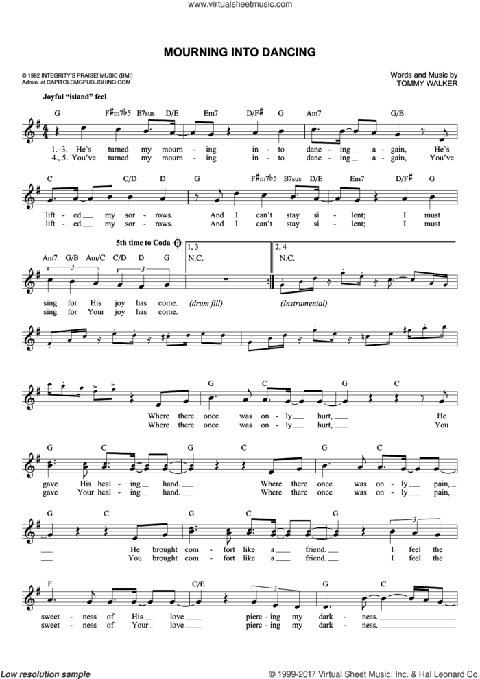 Mourning Into Dancing sheet music for voice and other instruments (fake book) by Tommy Walker and The Insyderz, intermediate skill level