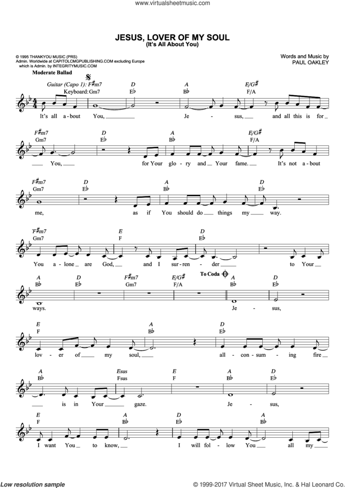 Jesus, Lover Of My Soul (It's All About You) sheet music for voice and other instruments (fake book) by Paul Oakley and Passion, intermediate skill level