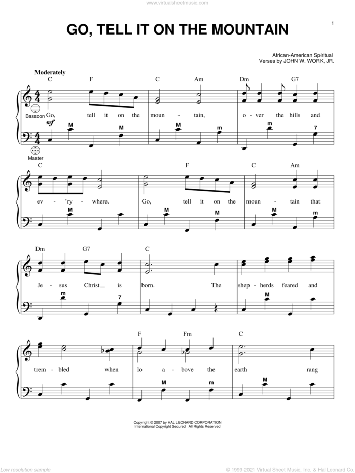 Go, Tell It On The Mountain sheet music for accordion by John W. Work, Jr., Gary Meisner and Miscellaneous, intermediate skill level