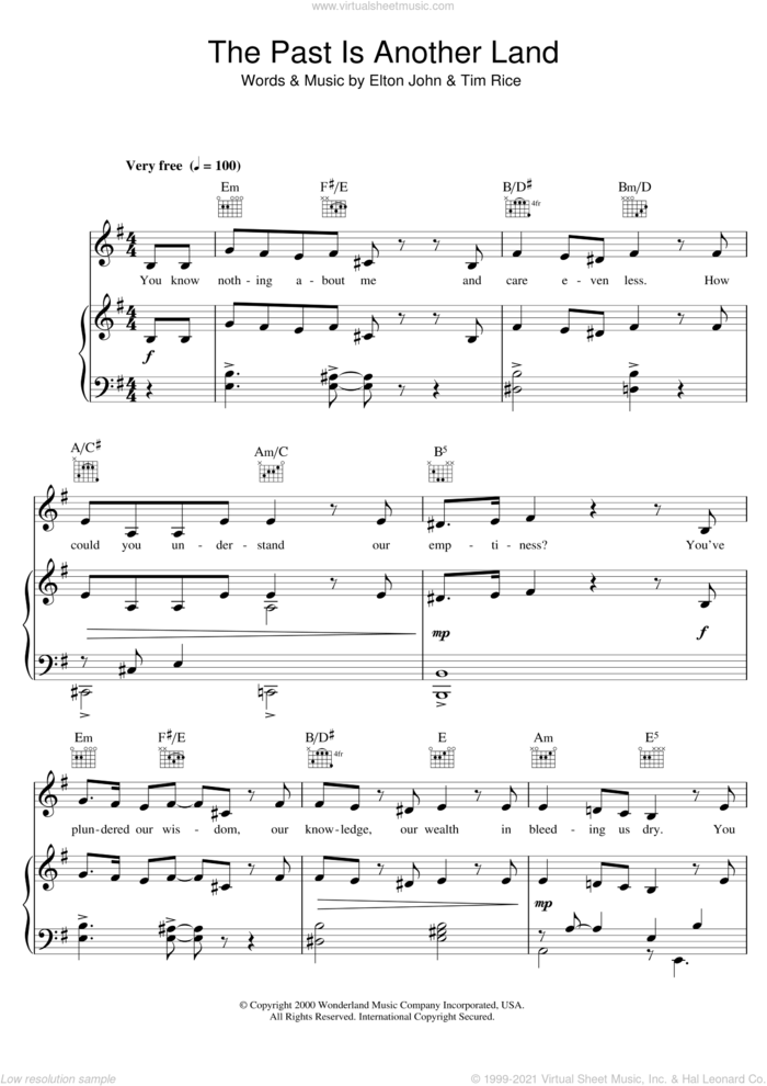 The Past Is Another Land (from Aida) sheet music for voice, piano or guitar by Elton John, intermediate skill level