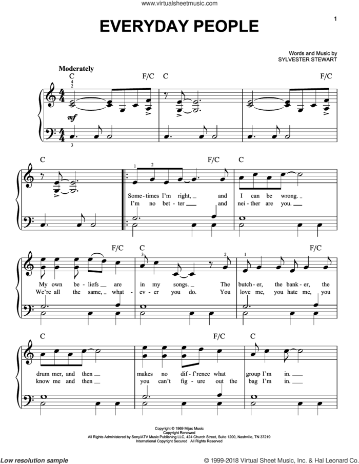 Everyday People sheet music for piano solo by Sly & The Family Stone and Sylvester Stewart, beginner skill level
