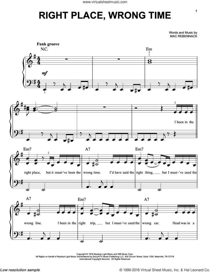 Right Place, Wrong Time sheet music for piano solo by Dr. John and Mac Rebennack, beginner skill level