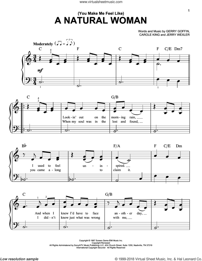 (You Make Me Feel Like) A Natural Woman sheet music for piano solo by Aretha Franklin, Celine Dion, Mary J. Blige, Gerry Goffin and Jerry Wexler, beginner skill level
