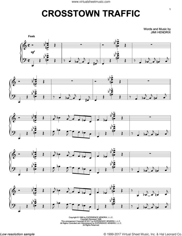 Crosstown Traffic [Jazz version] sheet music for piano solo by Jimi Hendrix, intermediate skill level