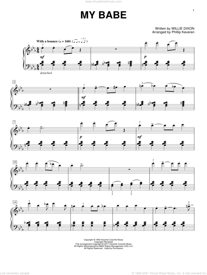 My Babe sheet music for piano solo by Willie Dixon, Phillip Keveren and Little Walter, intermediate skill level