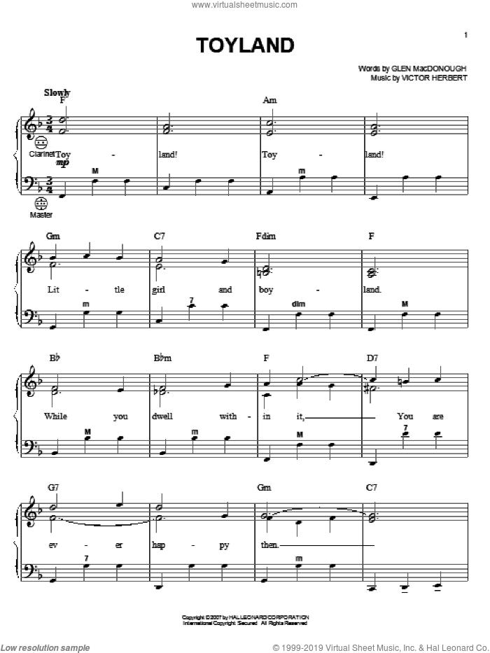 Toyland sheet music for accordion by Doris Day, Gary Meisner, Glen MacDonough and Victor Herbert, intermediate skill level