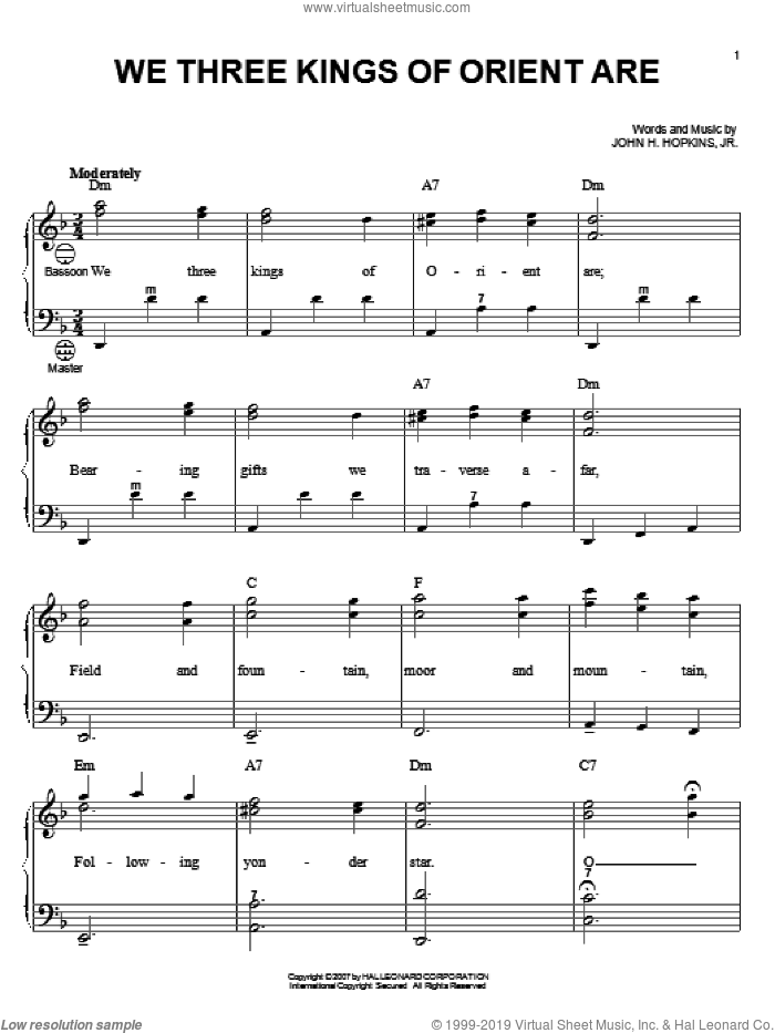 We Three Kings Of Orient Are sheet music for accordion by John H. Hopkins, Jr. and Gary Meisner, intermediate skill level