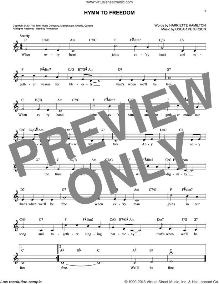 Hymn To Freedom sheet music for voice and other instruments (fake book) by Oscar Peterson and Harriette Hamilton, intermediate skill level