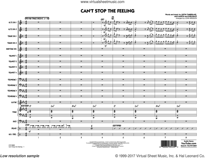 Can't Stop the Feeling (COMPLETE) sheet music for jazz band by Max Martin, Johan Schuster, John Wasson, Justin Timberlake and Shellback, intermediate skill level