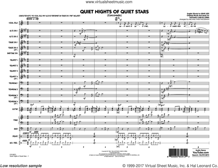 Quiet Nights of Quiet Stars (Corcovado) (COMPLETE) sheet music for jazz band by Antonio Carlos Jobim, Andy Williams, Eugene John Lees and Michael Philip Mossman, intermediate skill level