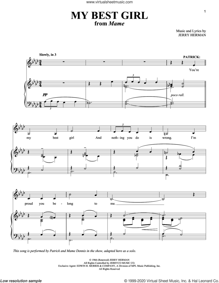 My Best Girl (My Best Beau) sheet music for voice and piano by Jerry Herman, intermediate skill level