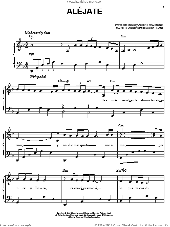 Alejate sheet music for piano solo by Josh Groban, Albert Hammond, Claudia Brant and Marti Sharron, easy skill level
