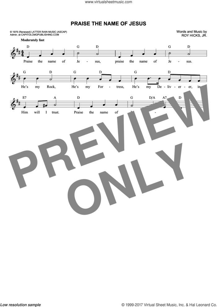 Praise The Name Of Jesus sheet music for voice and other instruments (fake book) by Roy Hicks, Jr., intermediate skill level