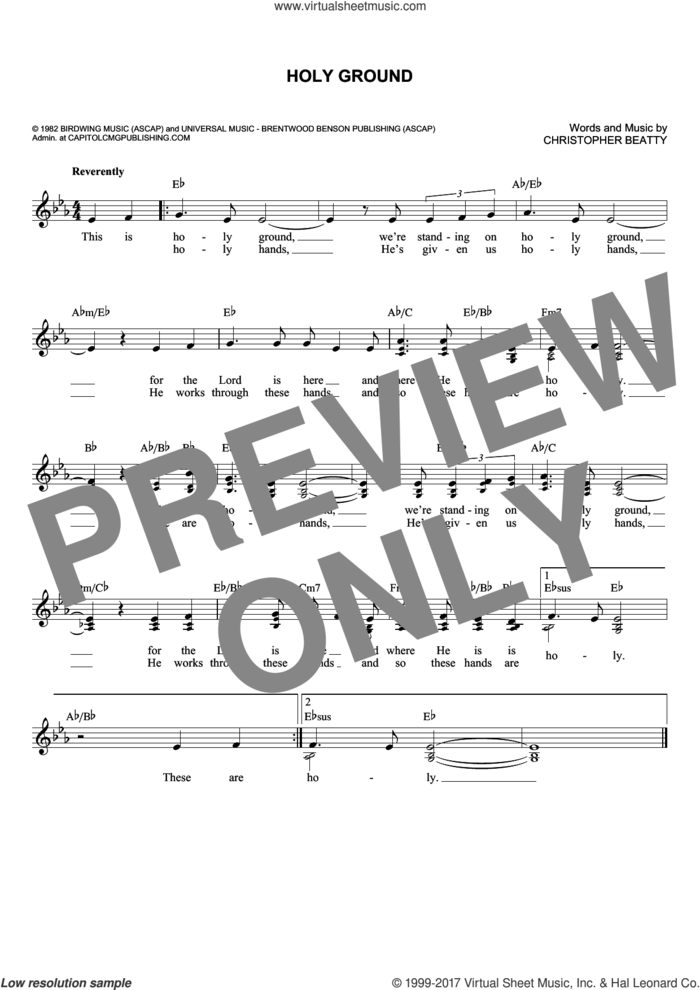 Holy Ground sheet music for voice and other instruments (fake book) by Christopher Beatty, intermediate skill level