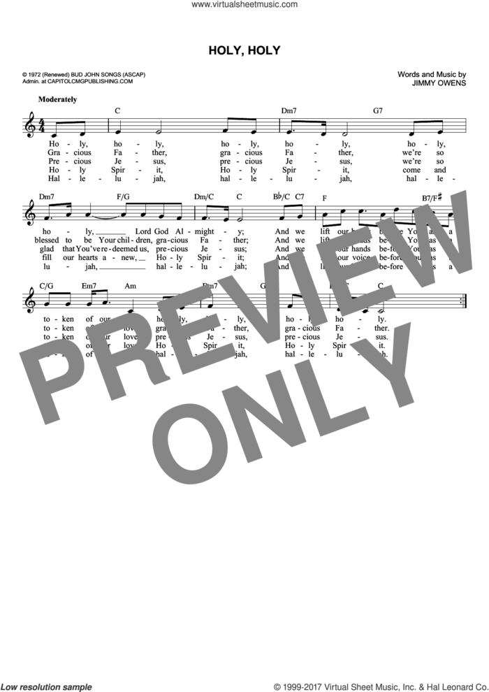 Holy, Holy sheet music for voice and other instruments (fake book) by Ginny Owens, intermediate skill level
