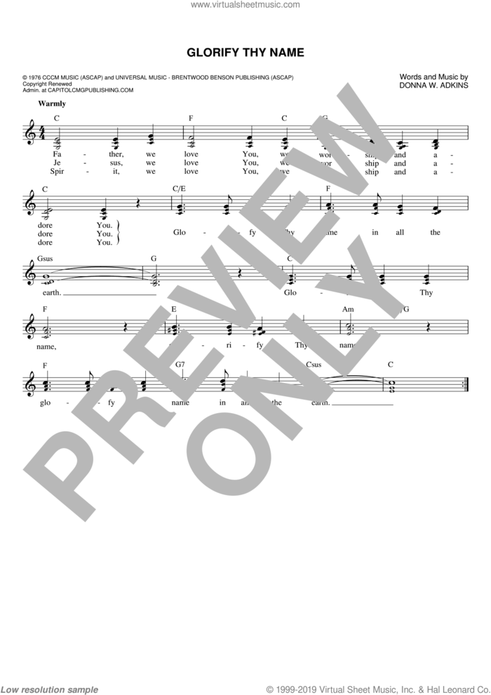 Glorify Thy Name sheet music for voice and other instruments (fake book) by Donna Adkins, intermediate skill level