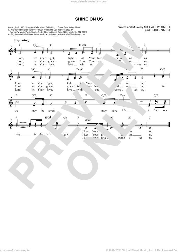 Shine On Us sheet music for voice and other instruments (fake book) by Phillips, Craig & Dean, Debbie Smith and Michael W. Smith, wedding score, intermediate skill level