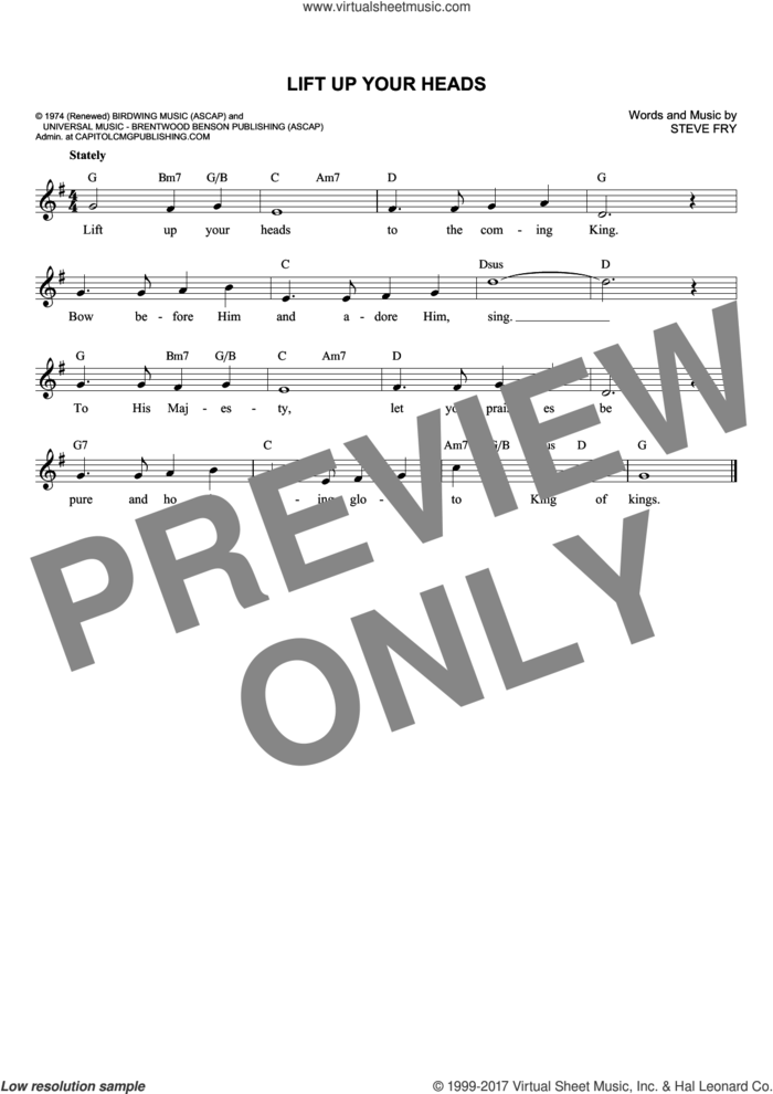 Lift Up Your Heads sheet music for voice and other instruments (fake book) by Steven Fry, intermediate skill level