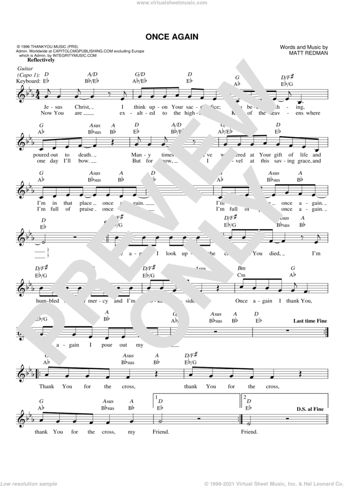 Once Again sheet music for voice and other instruments (fake book) by Matt Redman, intermediate skill level