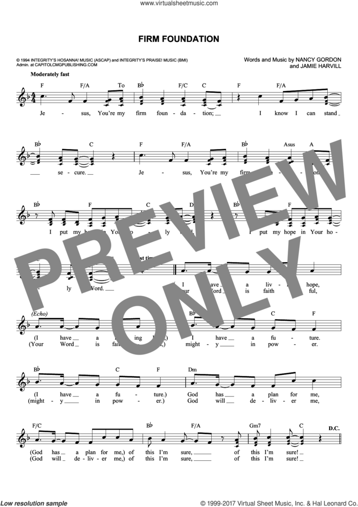 Firm Foundation sheet music for voice and other instruments (fake book) by Jamie Harvill and Nancy Gordon, intermediate skill level