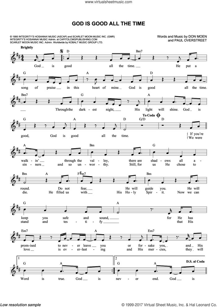God Is Good All The Time sheet music for voice and other instruments (fake book) by Don Moen and Paul Overstreet, intermediate skill level