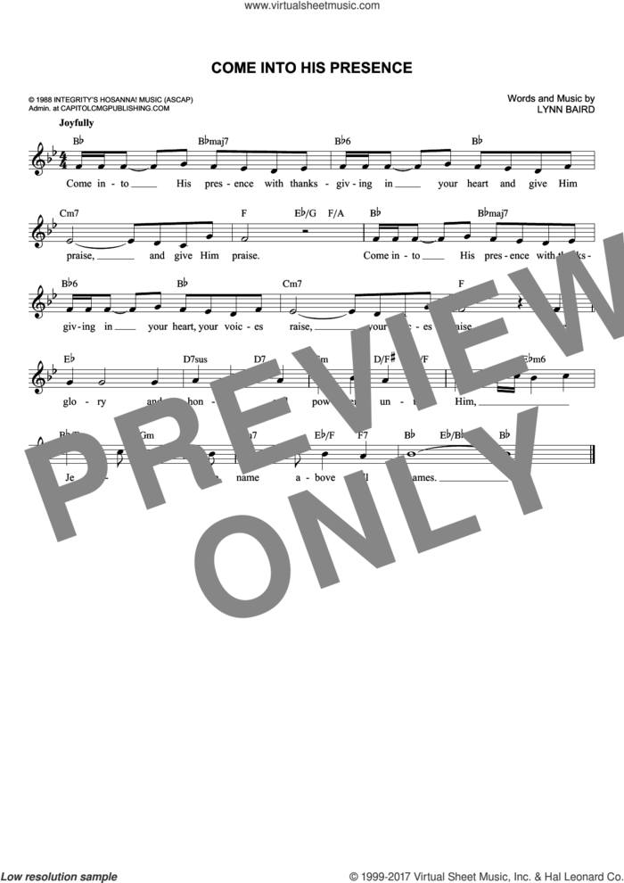 Come Into His Presence sheet music for voice and other instruments (fake book) by Lynn Baird, intermediate skill level