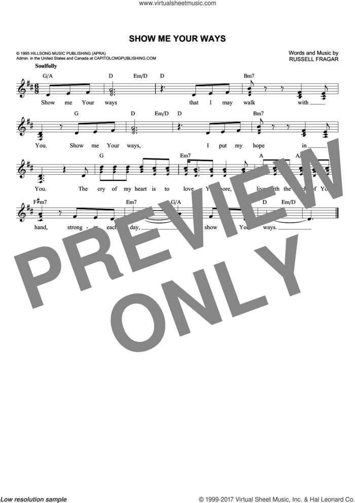 Show Me Your Ways sheet music for voice and other instruments (fake book) by Russell Fragar, intermediate skill level