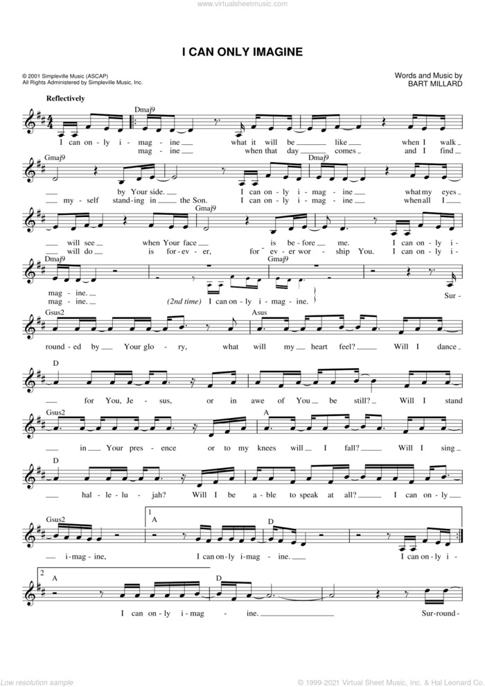 I Can Only Imagine sheet music for voice and other instruments (fake book) by Bart Millard and MercyMe, intermediate skill level