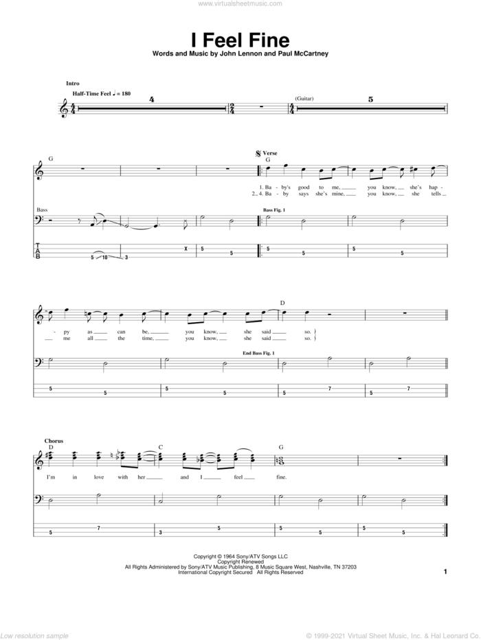 I Feel Fine sheet music for bass (tablature) (bass guitar) by The Beatles, John Lennon and Paul McCartney, intermediate skill level