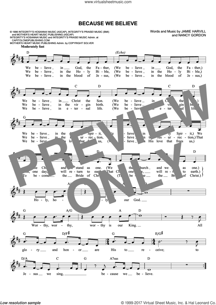 Because We Believe sheet music for voice and other instruments (fake book) by Jamie Harvill and Nancy Gordon, intermediate skill level