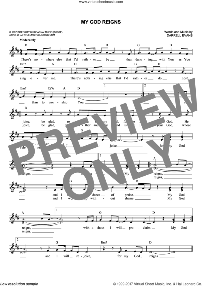 My God Reigns sheet music for voice and other instruments (fake book) by Darrell Evans, intermediate skill level
