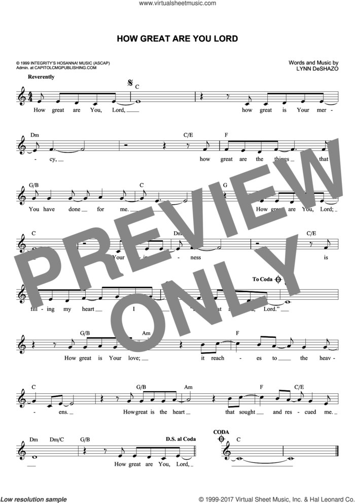 How Great Are You Lord sheet music for voice and other instruments (fake book) by Lynn DeShazo, intermediate skill level
